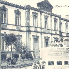 Postales: NOYA (LA CORUÑA) GRUPO ESCOLAR. CENSURA MILITAR SANTIAGO.. Lote 194190342