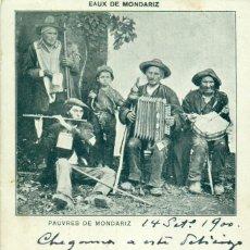 Postales: PONTEVEDRA BALNEARIO. POBRES DE MONDARIZ. CIRCULADA EN 1900 CON UN PELÓN. RARA.. Lote 194335816