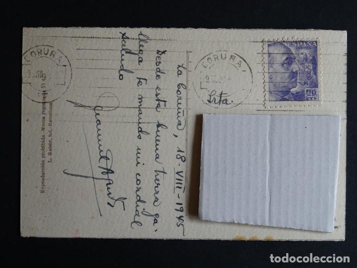 Postales: La Coruña, Cantones postal circulada con sello del año 1945 - Foto 2 - 194491387