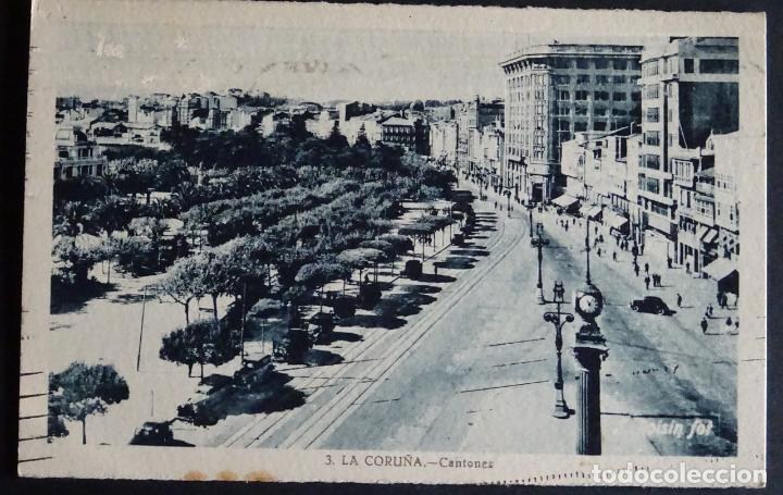 LA CORUÑA, CANTONES POSTAL CIRCULADA CON SELLO DEL AÑO 1945 (Postales - España - Galicia Moderna (desde 1940))