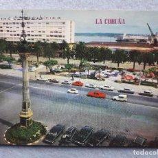 Postales: LA CORUÑA. OBELISCO Y JARDINES DE MÉNDEZ NÚÑEZ.. Lote 194715942