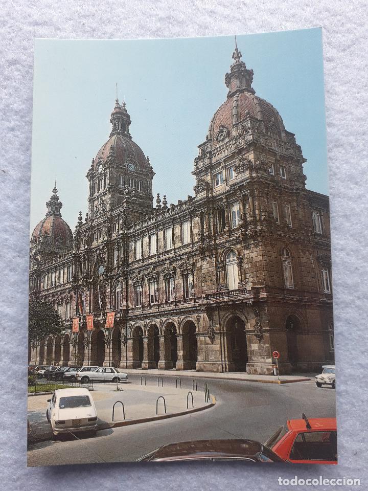 Postales: Lote de 2 postales de la Coruña. Palacio Municipal. Mª Pita. - Foto 2 - 195295920