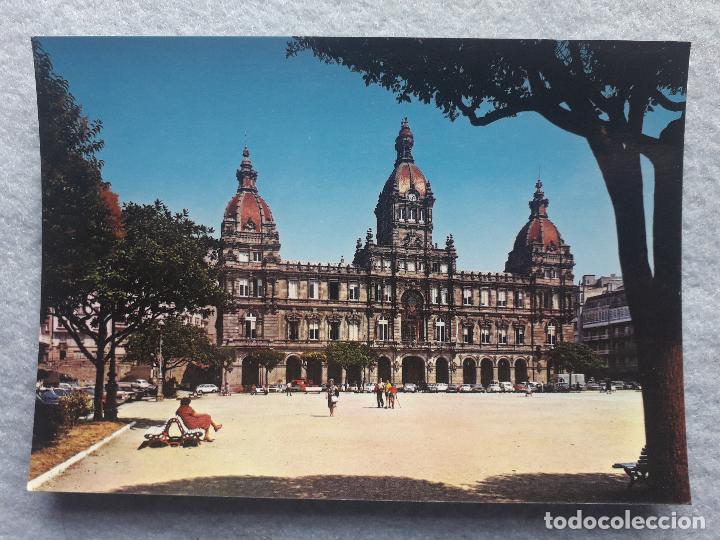 Postales: Lote de 2 postales de la Coruña. Palacio Municipal. Mª Pita. - Foto 3 - 195295920