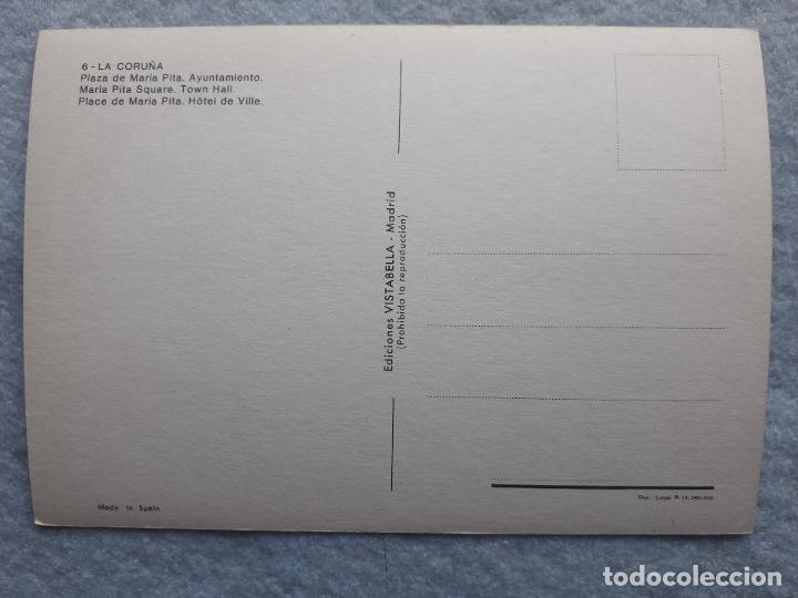 Postales: Lote de 2 postales de la Coruña. Palacio Municipal. Mª Pita. - Foto 4 - 195295920
