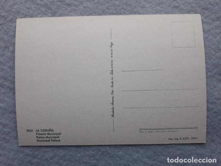 Postales: Lote de 2 postales de la Coruña. Palacio Municipal. Mª Pita. - Foto 5 - 195295920
