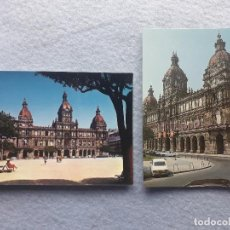 Postales: LOTE DE 2 POSTALES DE LA CORUÑA. PALACIO MUNICIPAL. Mª PITA.. Lote 195295920