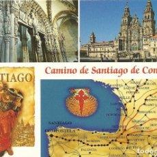 Postales: SANTIAGO DE COMPOSTELA. CAMINO DE SANTIAGO. MAPA. ESCUDO DE ORO. 10,5X15 CM. BUEN ESTADO. AÑOS 90. . Lote 199464282