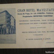 Postales: LA CORUÑA-GRAN HOTEL MAYESTATICO-POSTAL PUBLICIDAD ANTIGUA-(68.967). Lote 201522005