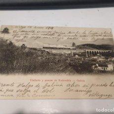 Postales: PONTEVEDRA - POSTAL VIADUCTO Y PUENTE DE REDONDELA - DORSO SIN DIVIDIR. Lote 205295555
