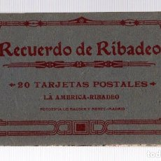 Postales: BLOC POSTAL RECUERDO DE RIBADEO. LUGO. 20 TARJETAS POSTALES. LA AMERICA. FOTOTIPIA HAUSER Y MENET. Lote 205684813