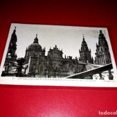 """Postales: POSTAL SANTIAGO DE COMPOSTELA """" LAS TORRES DE LA CATEDRAL . LA AZABACHERIA"""" ESCRITA Y SELLADA 1951. Lote 209261141"""