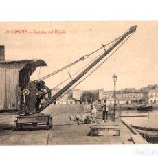 Postales: TARJETA POSTAL LA CORUÑA. DETALLES DEL MUELLE. CASTAÑEIRA. AÑO 1919. Lote 214796428