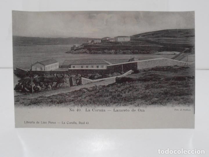 ANTIGUA POSTAL, LA CORUÑA, LANZARETO DE OZA, LIBRERIA DE LINO PEREZ, FOT J. GONZALEZ (Postales - España - Galicia Antigua (hasta 1939))
