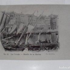 Postales: ANTIGUA POSTAL, LA CORUÑA, MUELLE DE LA MARINA, LIBRERIA DE LINO PEREZ, FOT J. GONZALEZ. Lote 217245793