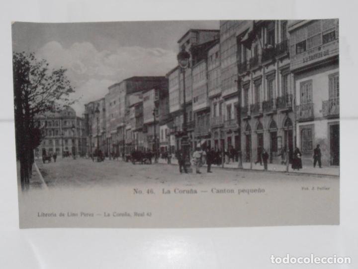 ANTIGUA POSTAL, LA CORUÑA, CANTON PEQUEÑO, LIBRERIA DE LINO PEREZ, FOT J. GONZALEZ (Postales - España - Galicia Antigua (hasta 1939))