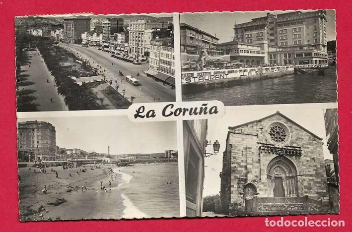 X12 GALICIA LA CORUNA DIVERSOS ASPECTOS CON FECHA 1955 (Postales - España - Galicia Moderna (desde 1940))