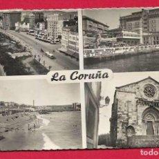 Postales: X12 GALICIA LA CORUNA DIVERSOS ASPECTOS CON FECHA 1955. Lote 219144003