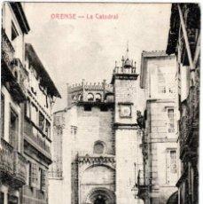 Postales: PRECIOSA POSTAL - ORENSE - LA CATEDRAL - PUBLICIDAD CEREALES CHELVI - LINARES (JAEN). Lote 219411468