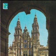 Cartes Postales: SANTIAGO DE COMPOSTELA, LA CATEDRAL, FACHADA OBRADOIRO - ESCUDO DE ORO Nº9 - EDITADA 1963 - ESCRITA. Lote 222112548