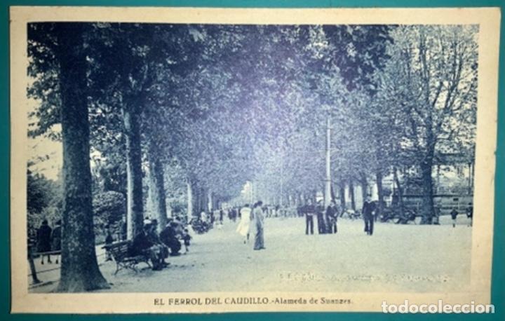 POSTAL DE EL FERROL DEL CAUDILLO ALAMEDA DE SUANZES SIN CIRCULAR (Postales - España - Galicia Moderna (desde 1940))