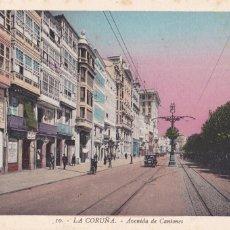 Postales: LA CORUÑA AVENIDA DE CANTONES. ED. ROISIN Nº 10. POSTAL EN BYN COLOREADA SIN CIRCULAR. Lote 222485672