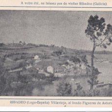 Postales: LUGO RIBADEO VILLAVIEJA AL FONDO FIGUERAS DE ASTURIAS. ED. HOTEL COMERCIO TIP. BOADA. SIN CIRCULAR. Lote 222491122
