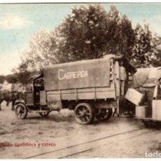 Postales: PRECIOSA POSTAL - AGUAS DE CABREIROÁ (ORENSE) - CARGANDO CAMIONES Y CARROS. Lote 224679501