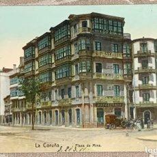 Postales: PLAZA DE MINA CIRCULADA 29-3-1911 CORUÑA. Lote 227613610
