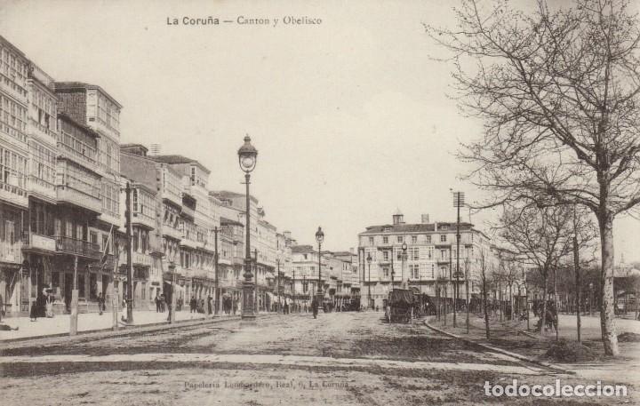1910 LA CORUÑA - CANTON Y OBELISCO - PAPELERIA LOMBARDERO - IMPECABLE (Postales - España - Galicia Antigua (hasta 1939))
