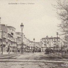 Postales: 1910 LA CORUÑA - CANTON Y OBELISCO - PAPELERIA LOMBARDERO - IMPECABLE. Lote 229839980