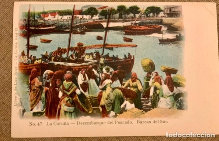 NO 47 LA CORUÑA-DESEMBARQUE DEL PESCADO. BARCAS DEL SON. (Postales - España - Galicia Antigua (hasta 1939))
