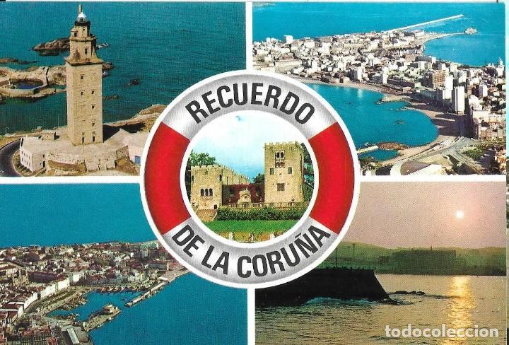 POSTAL CORUÑA COMPUESTA 5 VISTAS SALVAVIDAS ALARDE Nº8/42B AÑOS 70* (Postales - España - Galicia Moderna (desde 1940))