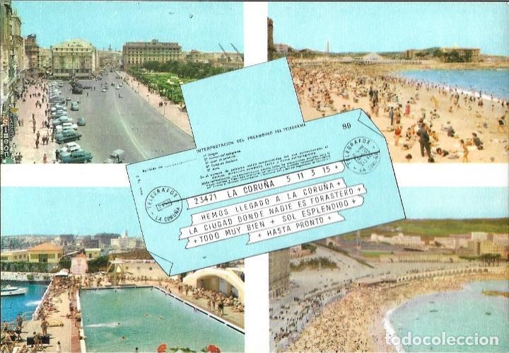 POSTAL CORUÑA COMPUESTA 4 VISTAS TELEGRAMA ALARDE Nº24/66 AÑOS 70* (Postales - España - Galicia Moderna (desde 1940))