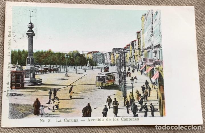 NO.8 LA CORUÑA-AVENIDA DE LOS CANTONES CIRCULADA 19 NOV.1906 (Postales - España - Galicia Antigua (hasta 1939))