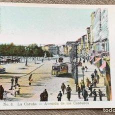 Postales: NO.8 LA CORUÑA-AVENIDA DE LOS CANTONES CIRCULADA 19 NOV.1906. Lote 235284035