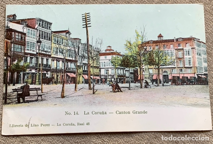 NO.14. LA CORUÑA -CANTON GRANDE CIRCULADA 1906 A BELGICA (Postales - España - Galicia Antigua (hasta 1939))
