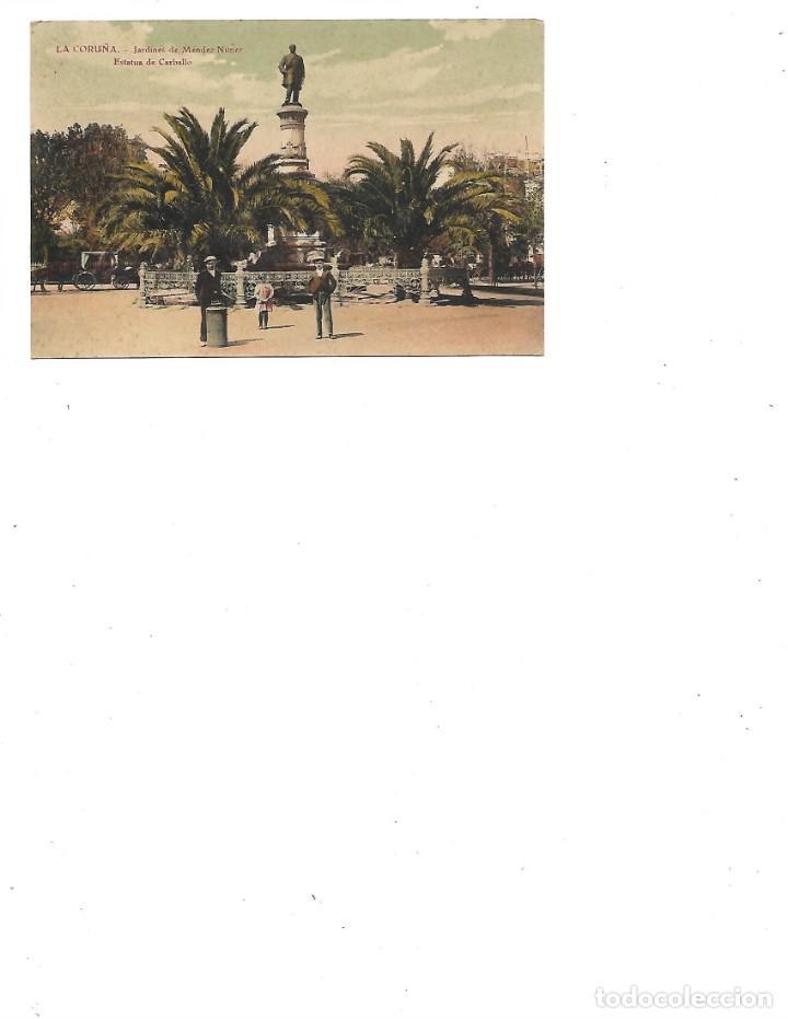 ANTIGUA POSTAL DE LA CORUÑA JARDINES DE MENDEZ NUÑEZ ESTATUA DE CARBALLO CIRCULADA 19211 (Postales - España - Galicia Antigua (hasta 1939))
