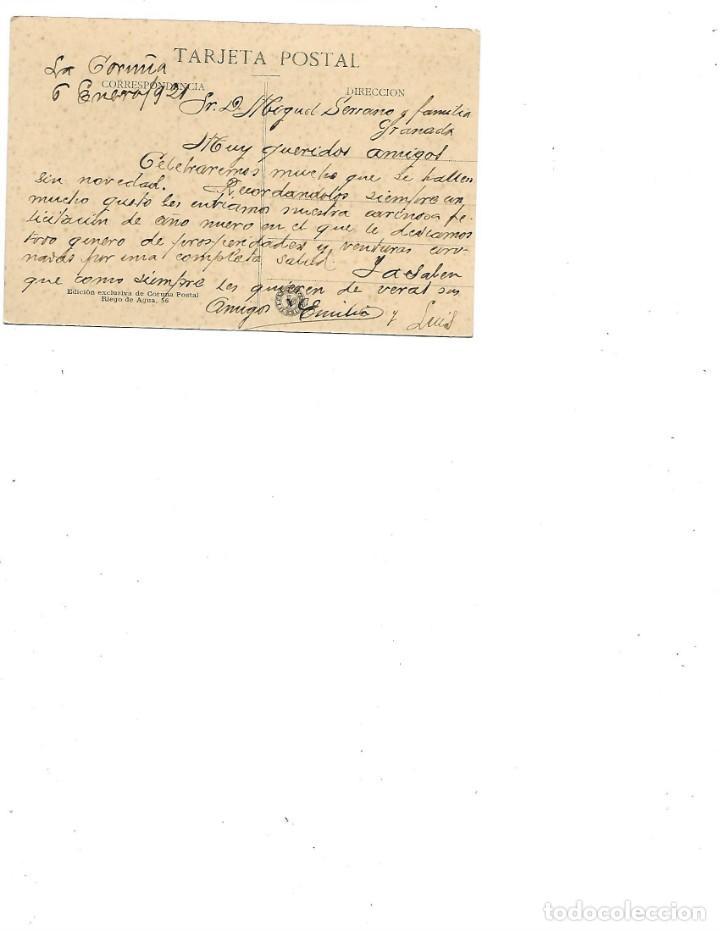Postales: ANTIGUA POSTAL DE LA CORUÑA JARDINES DE MENDEZ NUÑEZ ESTATUA DE CARBALLO CIRCULADA 19211 - Foto 2 - 236099465