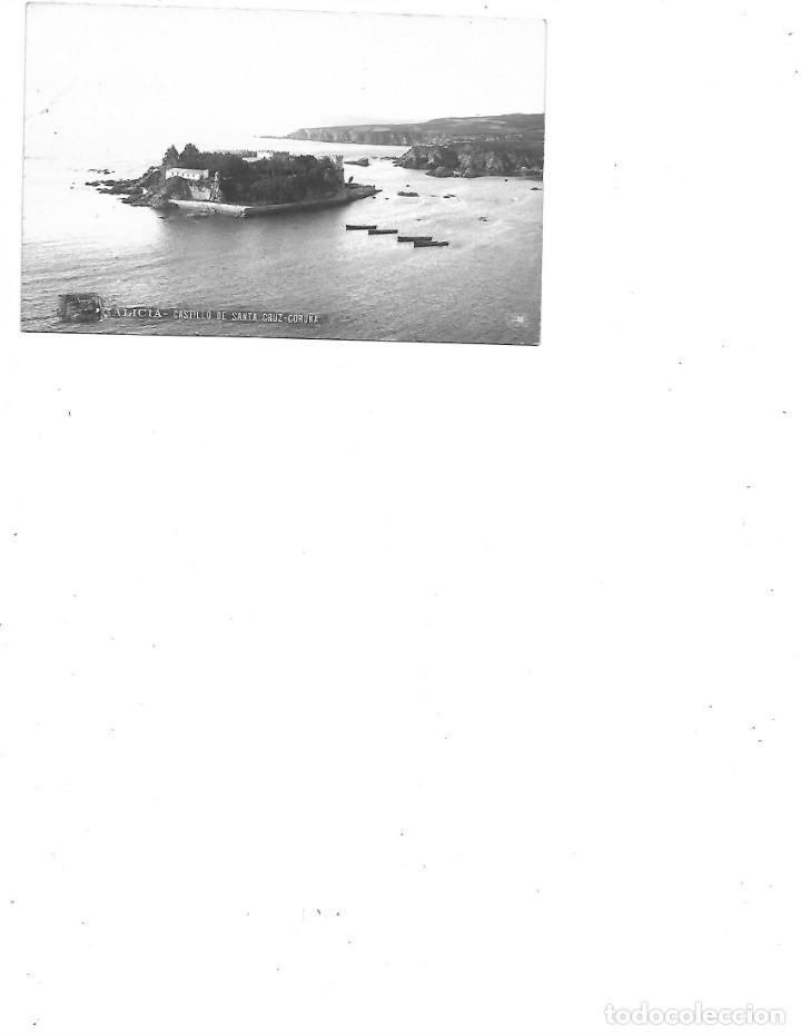 ANTIGUA POSTAL DE LA CORUÑA CASTILLO DE SANTA CRUZ CIRCULADA FOTO FERRER (Postales - España - Galicia Antigua (hasta 1939))