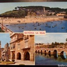 Postales: POSTAL DE. BAYONA LA REAL. CASTILLO DE MONTERREAL Y MONUMENTO A LA CARABELA. PONTEVEDRA.. Lote 237444560