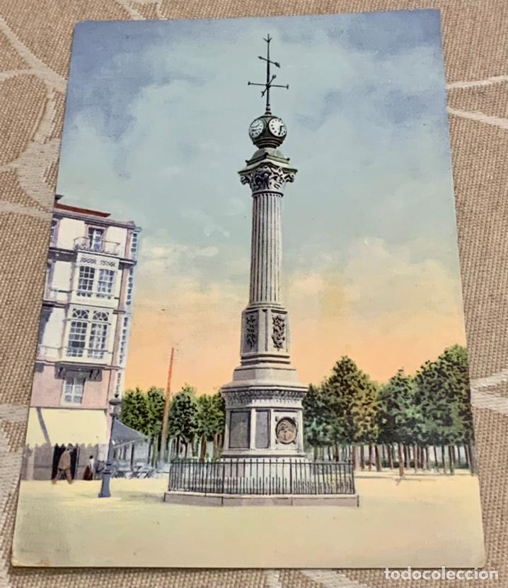 CORUÑA-OBELISCO DE LINARES RIVAS , SIN CIRCULAR DIFICIL. (Postales - España - Galicia Antigua (hasta 1939))