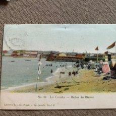 Postales: LA CORUÑA -BAÑOS DE RIAZOR NO 86 CIRC. 25 NOV 1906. Lote 238080065