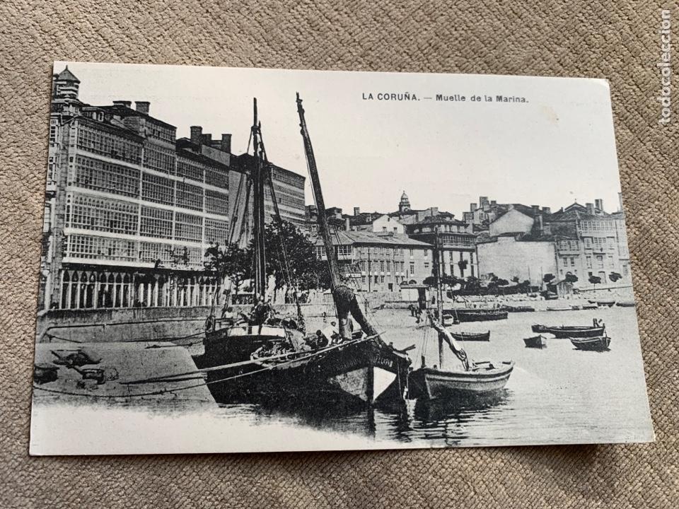 LA CORUÑA MUELLE DE LA MARINA.LIBRERIA LINO PEREZ (Postales - España - Galicia Antigua (hasta 1939))