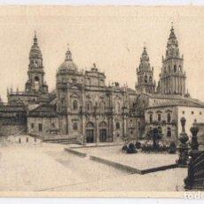 Postales: POSTAL SANTIAGO DE COMPOSTELA, CATEDRAL Y PORTAL AZABACHERIA. EN BLANCO Y NEGRO. Lote 245389350
