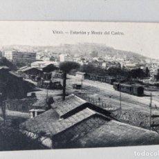 Postales: RARISIMA POSTAL DE VIGO - ESTACION FERROCARRIL Y MONTE DEL CASTRO - EDICION LA CIUDAD DE LONDRES. Lote 249498780