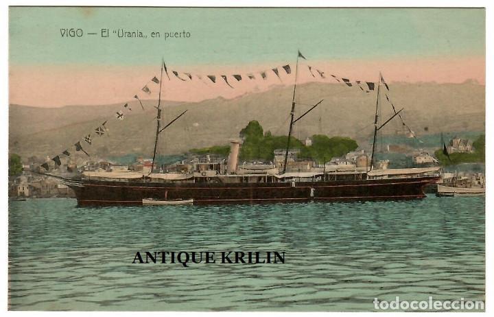 """VIGO / EL """" URANIA """" EN PUERTO / EDICION J. BUCETA (Postales - España - Galicia Antigua (hasta 1939))"""
