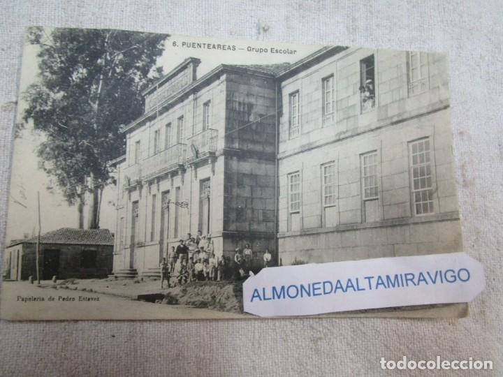 POSTAL CIRCULADA PUENTEAREAS PONTE AREAS Nº6 - GRUPO ESCOLAR, EDI PEDRO ESTEVEZ + INFO (Postales - España - Galicia Antigua (hasta 1939))
