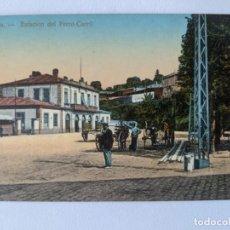 Postales: VIGO GALICIA POSTAL COLOR BARNIZADA AÑOS 20 ESTACION DEL FERRO-CARRIL TREN FERROCARRIL. Lote 265162619