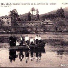 Postales: PADRON (CORUÑA) - ORILLAS DEL ULLA - COLEGIO SERAFICO DE S. ANTONIO DE HERBON - PALMERA DEL SIGLO XV. Lote 267396969