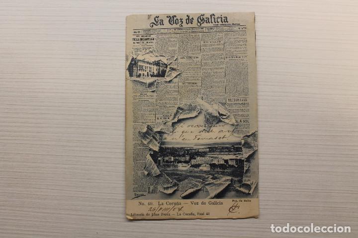 POSTAL LA CORUÑA, LA VOZ DE GALICIA, FOT. DE BELLO, LIBRERÍA DE LINO PÉREZ (Postales - España - Galicia Antigua (hasta 1939))